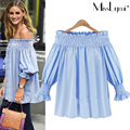4XL 5XL Plus Size Striped Shirts Women 2017 Summer Street Fashion Sexy Slash Neck Off Shoulder Top Loose Casual Chiffon Blouse
