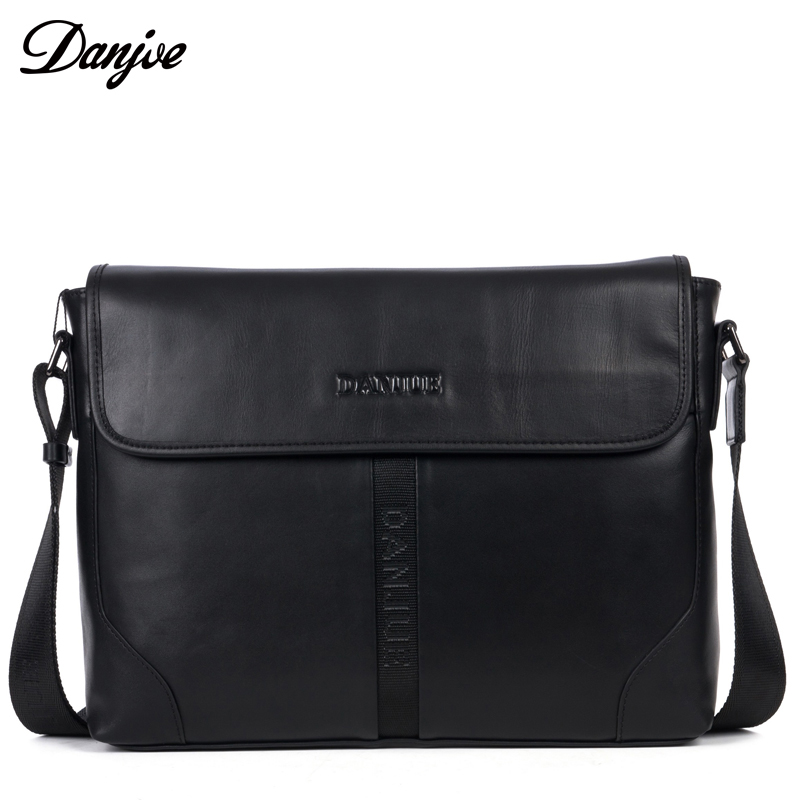 DANJUE Genuine Leather Men Bags Black Brown Satchels Designer Business Shoulder Bag Fashion Messenger Crossbody Bag With Cover danjue genuine leather men travel shoulder bag double zipper designer crossbody bag business fashion real leather briefcase bag