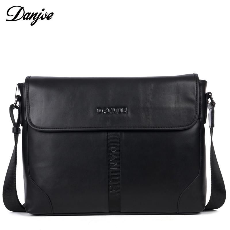 DANJUE Genuine Leather Men Bags Black Brown Satchels Designer Business Shoulder Bag Fashion Messenger Crossbody Bag With Cover