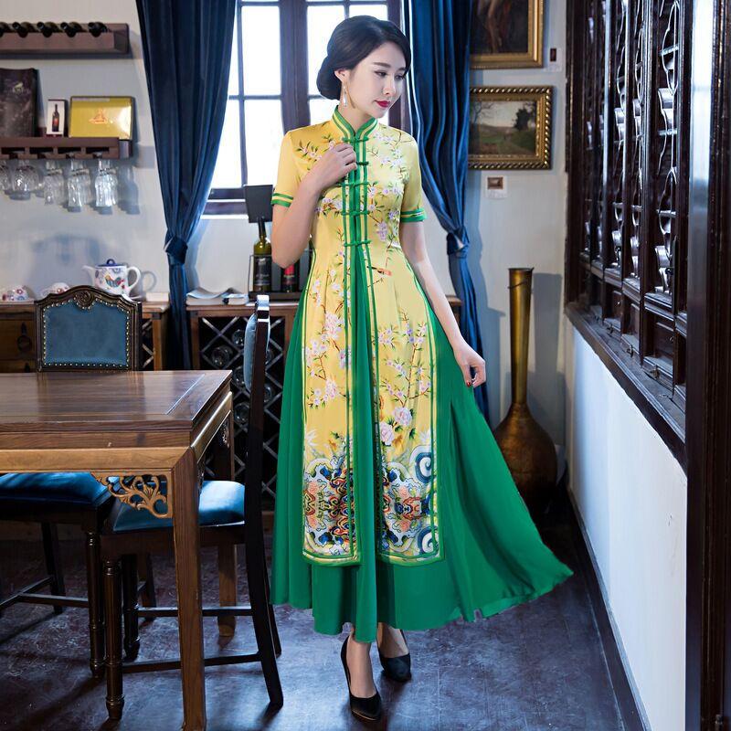 Top Selling Chinese Women's Satin Rayon Long Cheongsam Stylish Female Summer Qipao Dress Vestidos Size S M L XL XXL XXXL 6X5814 женское платье other 2015 o vestidos s m l xl xxl