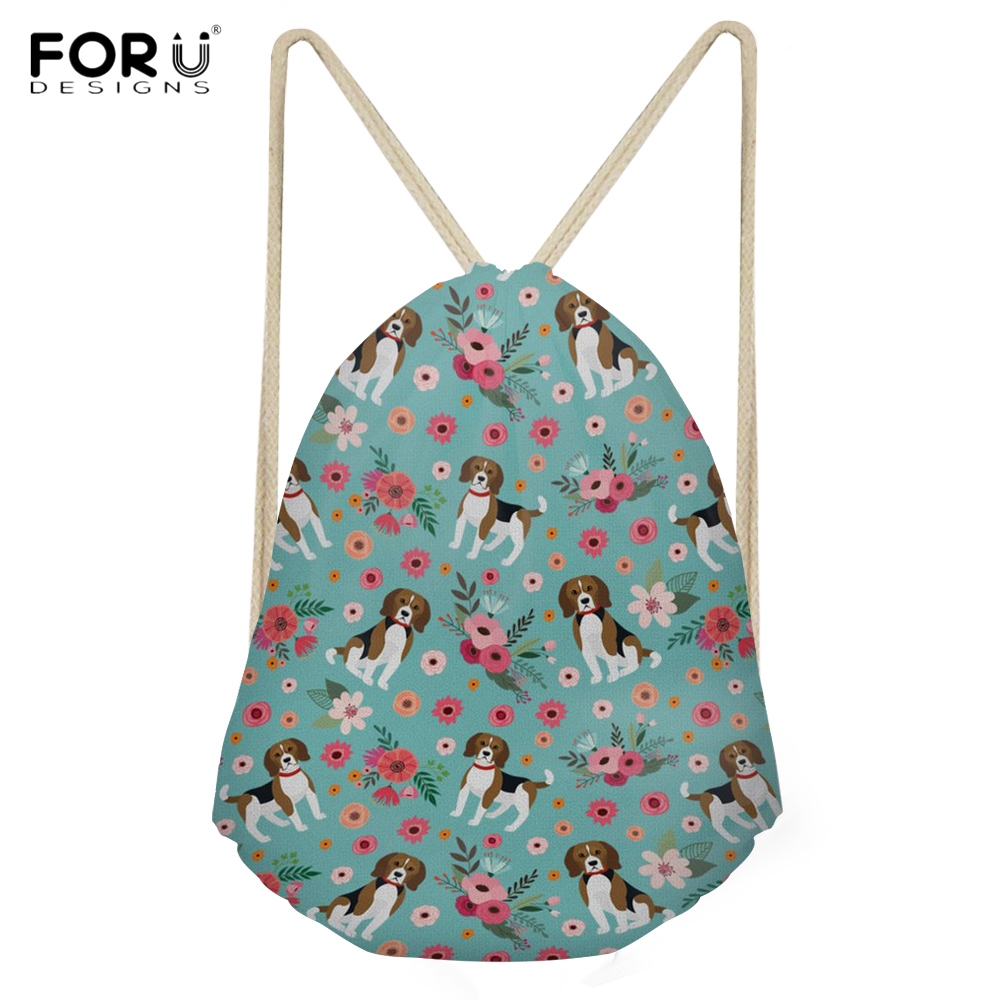 FORUDESIGNS Kawaii 3D Puppy Beagle Printing Woman Drawstring Bags Fashion Backpacks for Girls softback Travel Storage Sack Bags ...