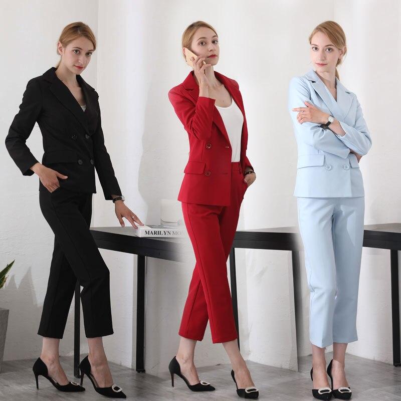 c05baf32669a Chaquetas Nuevo Con Oficina 2 Para azul De Blazers Conjuntos Cielo  Femeninos Negro Negocios Profesional rojo Damas Pantalones Trajes Trabajo  ...