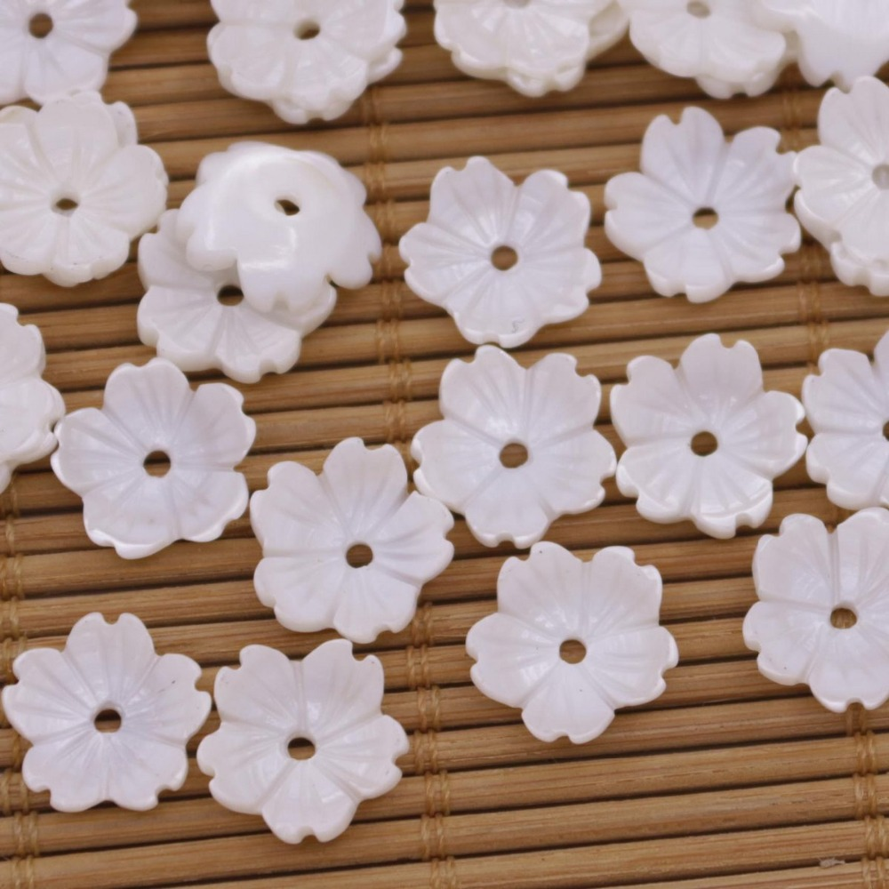 Купить с кэшбэком 50 PCS 12mm Mini Flower charms Shell Natural White Mother of Pearl