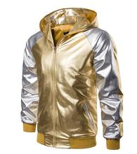 Personalized mens motorcycle leather jacket golden silver glossy coat singer jackets stage street dance rock fashion hooded