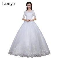 LAMYA Fashion Plus Size Wedding Dress 2019 Women Lace Sweetheart Half Sleeve Elegant Lace Up With Sashed Vestidos De Noiva