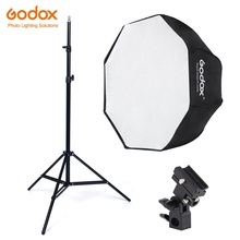купить Godox 95cm octagon umbrella softbox Light stand umbrella Hot shoe bracket kit for Strobe Studio Flash Speedlight Photography дешево
