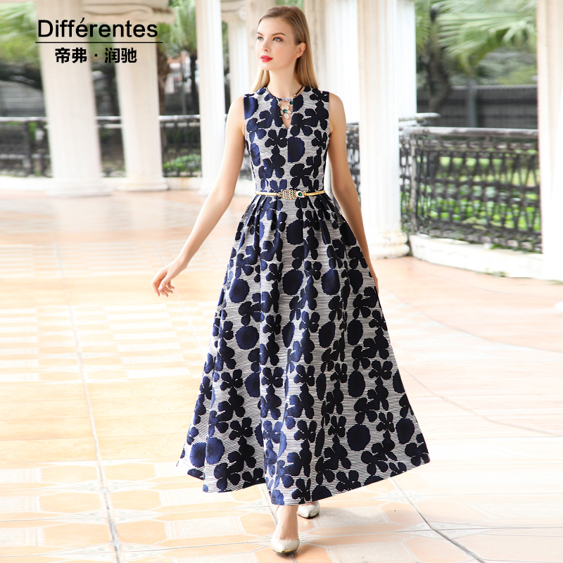 b77616665c962 S- 4XL Floral Printed Women Maxi Dress Sleeveless O-neck Swing Party Dresses  Summer Femme Long Robe Vintage 5534