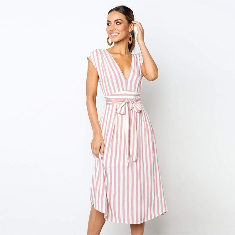 2019 summer new womens fashion striped temperament sexy deep V lace high waist dress female