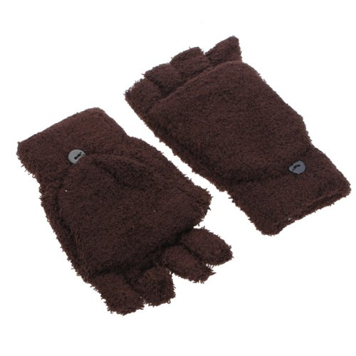 New Sale Pair of Gloves Mitten Velvet Soft Gloves for Winter Thermal Anti-Cold woman Girl Skiing Gloves- Coffee