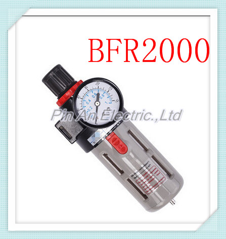 Free Shipping 1/4 Pneumatic Source Treatment Unit BFR2000 , Air Filter Pressure Regulator 1 4 bfr 2000 air source gas treatment pressure filter regulator model bfr2000 with pressure gauge