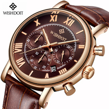 2018 WISHDOIT Men's Fashion Sport Watches Men Quartz Analog Date Clock Man Leather Military Waterproof Watch Relogio Masculino все цены