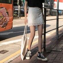 Summer 2019 Women White Knee-Length One Step Skirt A-Line High Waist Hip Lace Elegant Casual All-Match Female Skirts