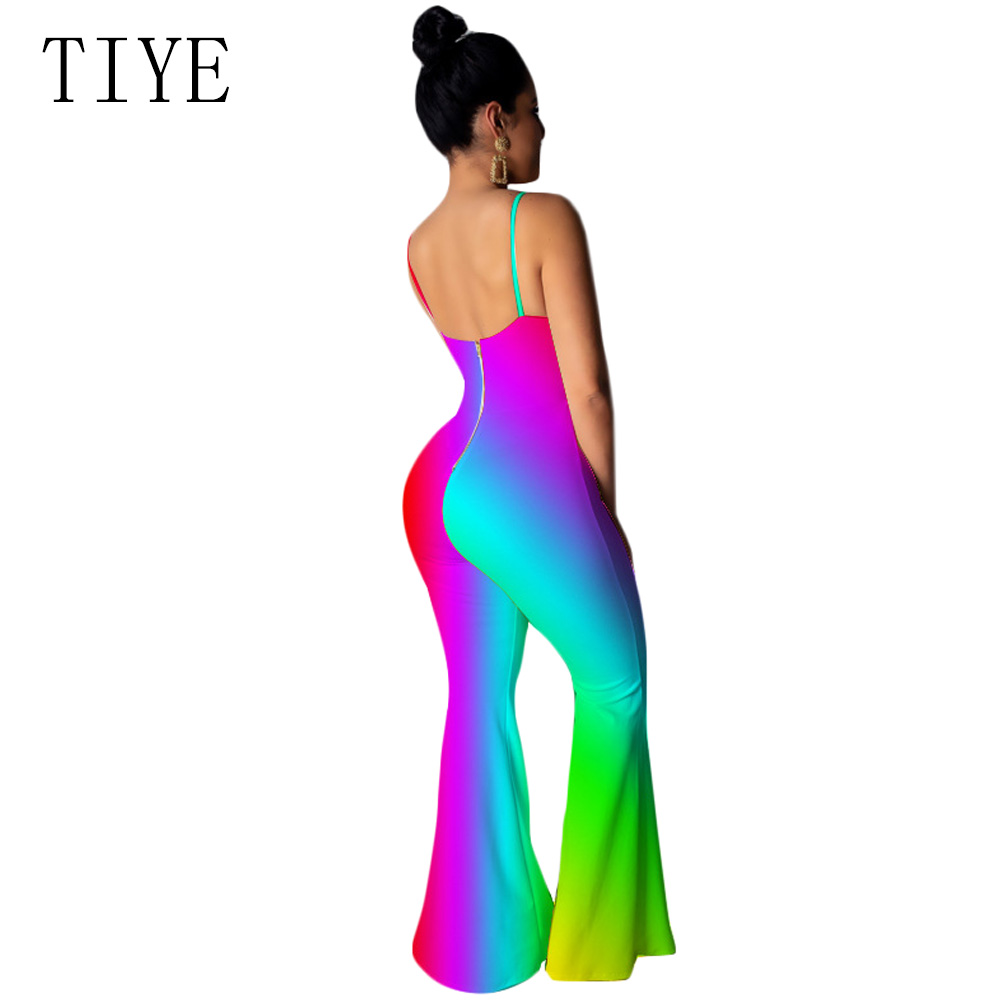 TIYE Rainbow Tie Dye Gradient Sexy Tie Up Jumpsuits Backless Summer Rave Festival Neon Hollow Out Rompers Womens Jumpsuit
