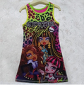 Retail Free Ship New Arrival Brand Kids dress monster high cartoon dress,Classie design, Girls Summer clothes Top Guality
