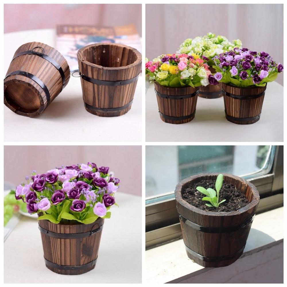 Home garden round wooden flower pots retro planter barrel for Gardeners supply planters