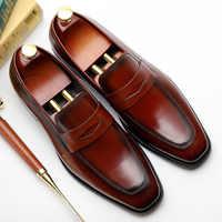 Mens Formal Shoes Genuine Leather Shoe Solid Pattern Business Dress Shoes Men Slip-On Oxfords EUR Size 38-44 Zapatos