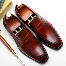 Mens Formal Shoes Genuine Leather Shoe Solid Pattern Business Dress Men Slip-On Oxfords EUR Size 38-44 Zapatos