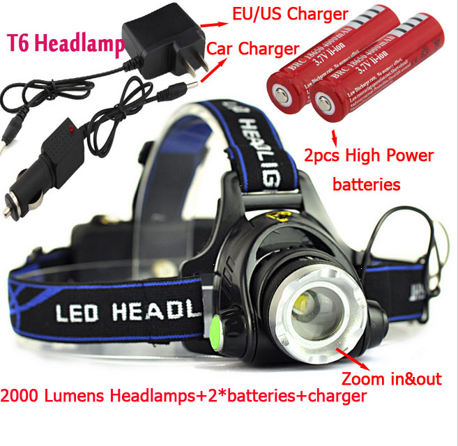 Livraison gratuite Zoomables T6 Phare camping lumière Rechargeable led zoom tête lampe + 2x18650 batterie + AC et chargeur De Voiture dans Vélo lumière de Sports et loisirs