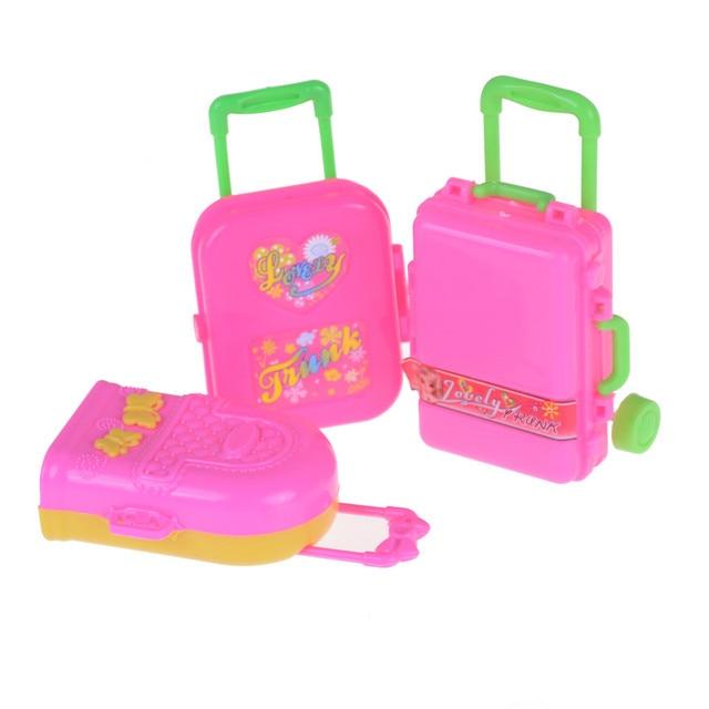 3D Kid Children Toys Travel Train Suitcase Luggage Case Doll Dress Storage  Case Toys For Barbie