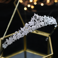 ASNORA full crown paved with cubic zirconia Crown CZ Bride Tiaras Classic headband accessories for hair wedding Chorusa Bride