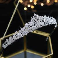 ASNORA pełna korona betonowa z cyrkonia korona CZ Bride tiary klasyczne z pałąkiem na głowę akcesoria do włosów ślub Chorusa panny młodej