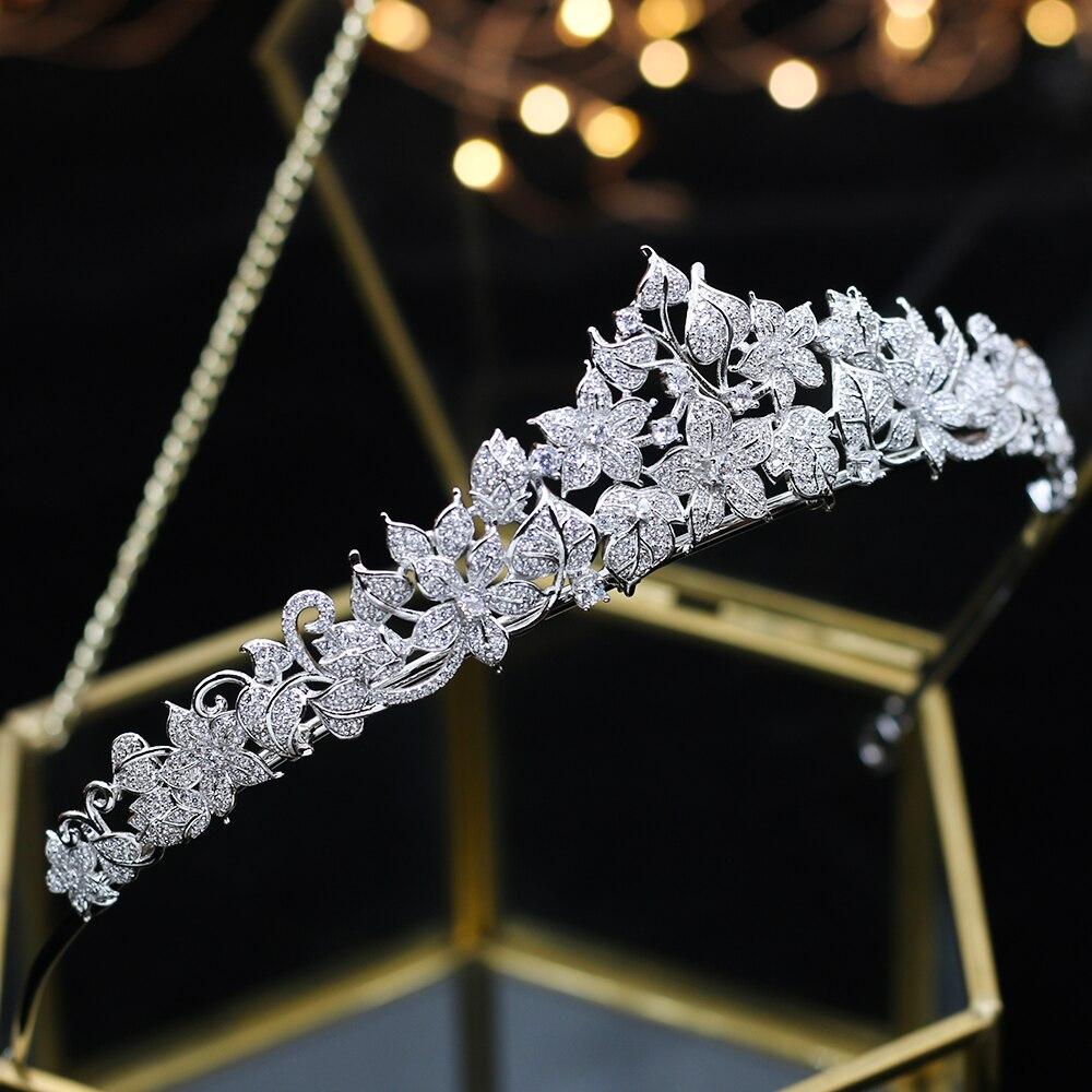 ASNORA volledige kroon verharde met zirconia Crown CZ Bruid Tiara Klassieke hoofdband accessoires voor haar bruiloft Chorusa Bruid-in Haarsieraden van Sieraden & accessoires op  Groep 1