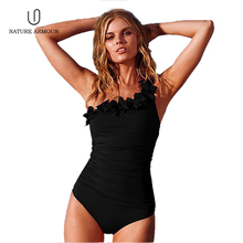 NATURE ARMOUR swimwear woman 2018 sexy Ruffled one-shoulder swimsuit fused triangle Swimming pool beach one piece swimsuit niumo new woman one piece swimsuit triangle swimsuit small chest gather together hot spring swimwear two pieces