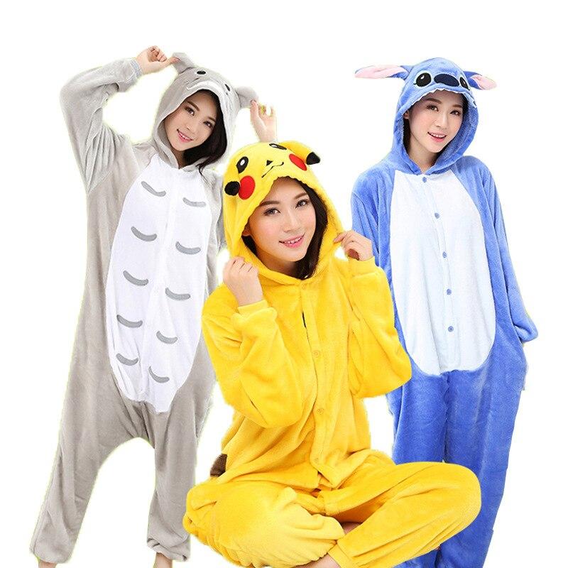 Women Kigurumi Cute Panda Tiger Stitc Pyjama Adult Animal Onesies Pajamas Sets Homewear Flannel Unisex Totoro Pikachu Dinosaur Sleepwear