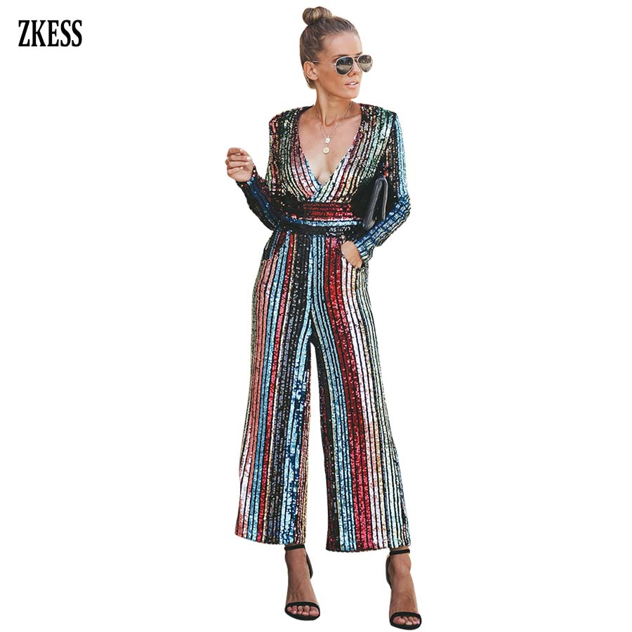 ZKESS Women Fashion Multi color Striped Wide Leg Sequined Jumpsuits Sexy Deep V Neck Long Sleeve