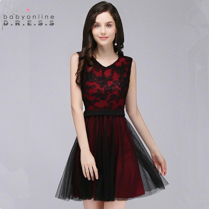 Elegant Black Lace Homecoming Dresses Sweet A Line Sleeveless Short Graduation Dress Vestido de Festa Curto