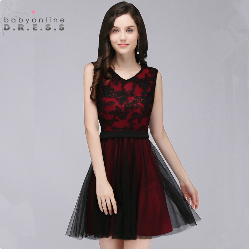 Elegant Black Lace Homecoming Dresses  Sweet A Line Sleeveless Short Graduation Dress Vestido de Festa Curto