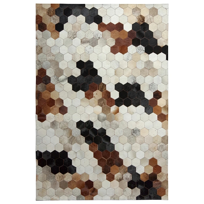 American style natural cowhide seamed rug <font><b>140*200</b></font> cm , gray color genuine cows skin carpet for living room, fur bedside carpet image