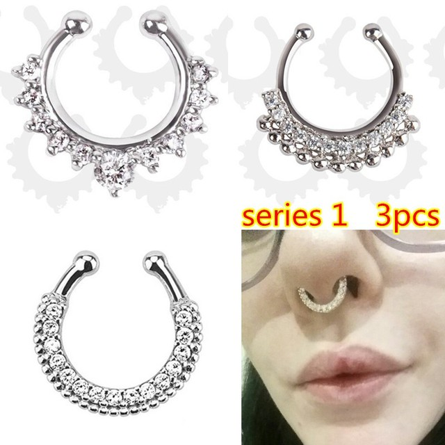 Fashion Crystal fake nose ring round shape Fake septum Piercing Hoop For Women Body Jewelry 3