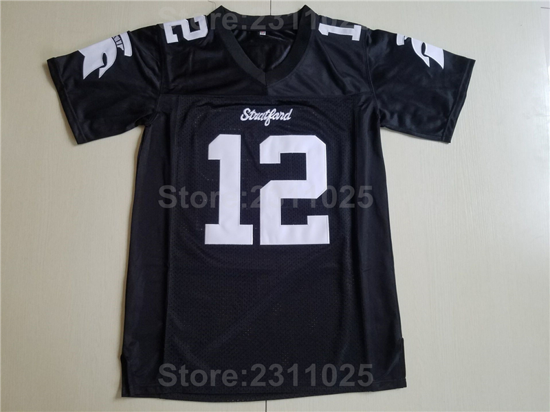 Ediwallen Stratford 12 Andrew Luck Football Jerseys American Moive College All Stitched Black Sport Breathable High Quality
