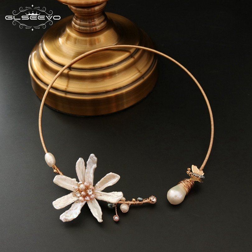 GLSEEVO Natural Fresh Water Baroque Pearl Handmade Adjustable Flower Collar Necklace For Women Gifts Luxury Fine Jewelry GN0062 glseevo natural fresh water pearl chokers necklace for women handmade necklaces luxury fine jewelry gargantilha kolye gn0047