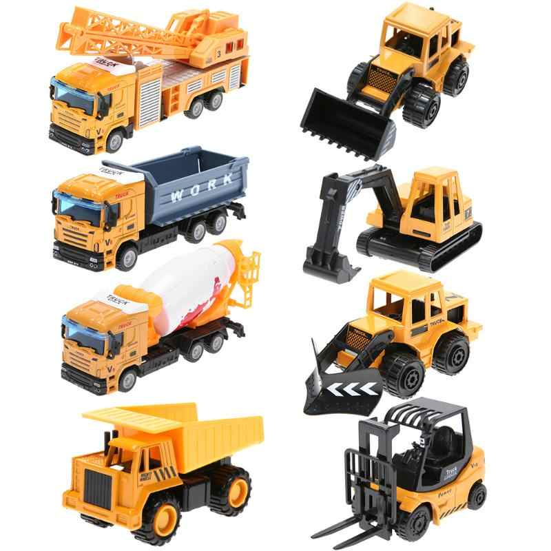 Mini Engineering Vehicles Pull Back Toy Excavator Forklift Burrow Truck Dump Truck Crane Charging Crane Road Roller Kid's Toys