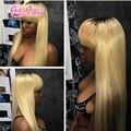 Ombre 1b / 613 # brasileira do cabelo virgem dois tons 1b para loira 130% densidade cheia do laço perucas de cabelo humano com franja de alta qualidade de espessura