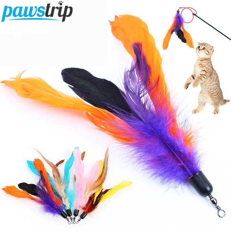 10pcs/lot Colorful <font><b>Cat</b></font> <font><b>Toy</b></font> <font><b>Feather</b></font> Replacement For Interactive <font><b>Cat</b></font> Wand 18cm(without <font><b>stick</b></font>) image