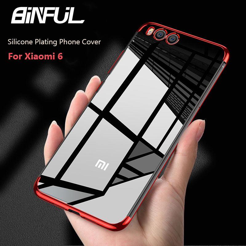 For Xiaomi Mi 6 Case Cover Transparent Plating TPU Edge Soft Clear Silicone Back Cover For Xiaomi Mi 6 Mi6 Case Phone Coque in Fitted Cases from Cellphones Telecommunications