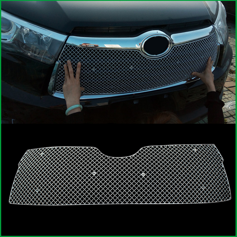Car styling Stainless Steel Front Bumper Honeycomb Grille For Toyota highlander 2015 2016 Center grill Cover