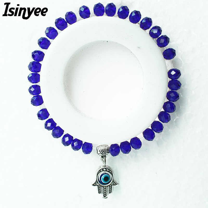 ISINYEE Fashion Small Hamsa Bracelet Turkish Evil Eye Charm Glass Beads Bracelets For Women Girl Vintage Silver Crystal Jewelry