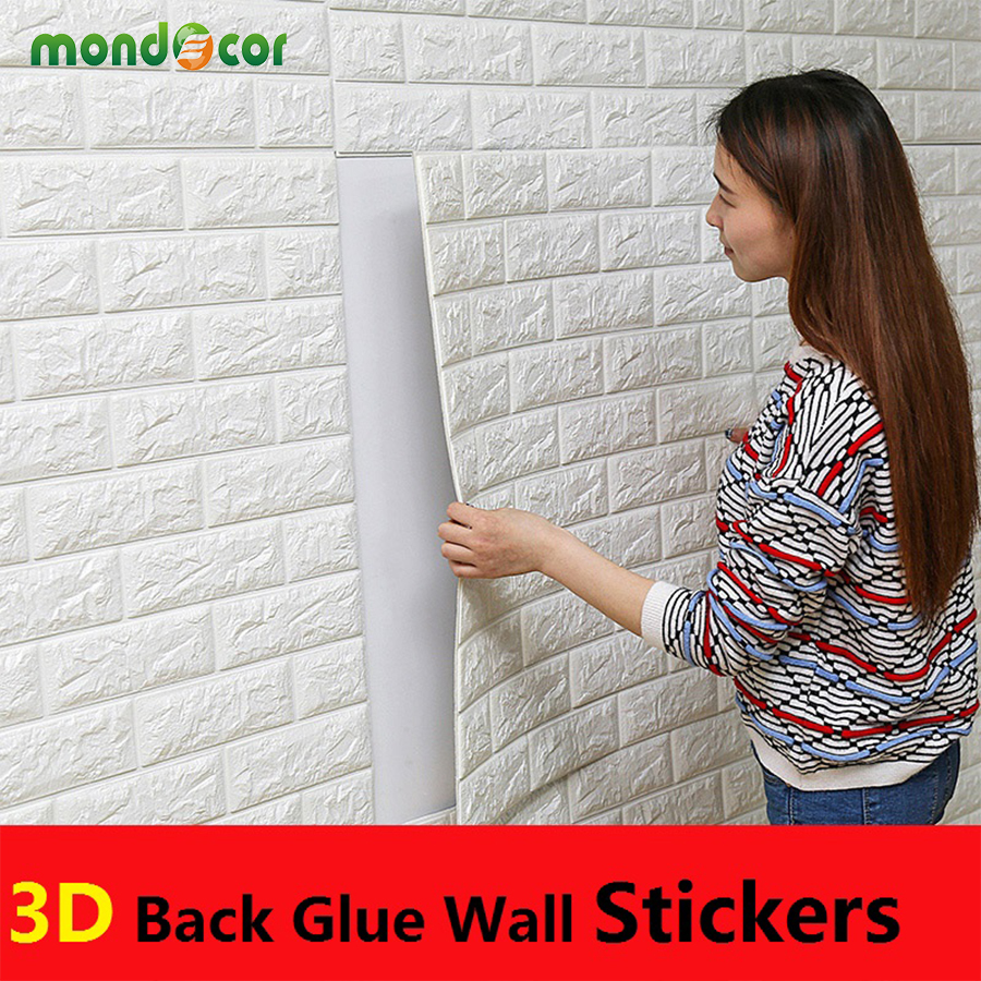 PE Foam 3D Wall Stickers Brick Pattern Waterproof Self Adhesive Wallpaper Room Home Decor For Kids Bedroom Living Room Stickers
