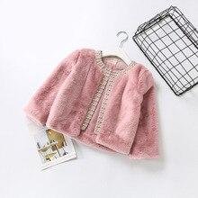 Ropa de bebé para niñas, cálido conejito de piel abrigos de piel sintética con perlas, prendas de vestir exteriores y abrigos para niñas, Tops para niños pequeños de invierno en rosa y blanco de 2 a 6 años