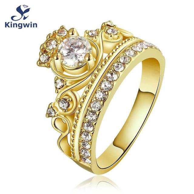 Kingwin nuevo diseño corona anillo para las mujeres CZ oro puro color reina  princesa famosa marca 1ad72715c42