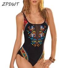 Black Women One Piece Swimsuit Push Up Bathing Suit High Cut Monokini Mesh Swimwear Push Up Swimming Suit Sexy Beachwear 2018