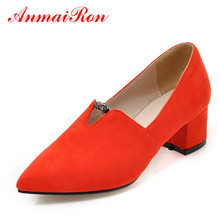 ANMAIRON Square Heels Flock Pointed Toe Court Shoes Women Pumps Low Heel Slip-On Black Red All-match Shoes Woman Pumps for Party цены