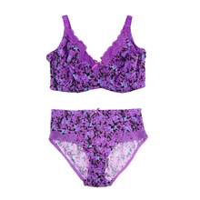 MiaoErSiDai Women Sexy Bra Set Plus Size With Lace Unlined Full Coverage Push Up Brassiere Flower Brief Panty 36-46 C-G Cup