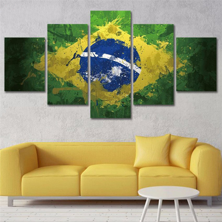2017 Hot Sale Brazil National Flag Canvas Arts Painting HD Wall Home ...