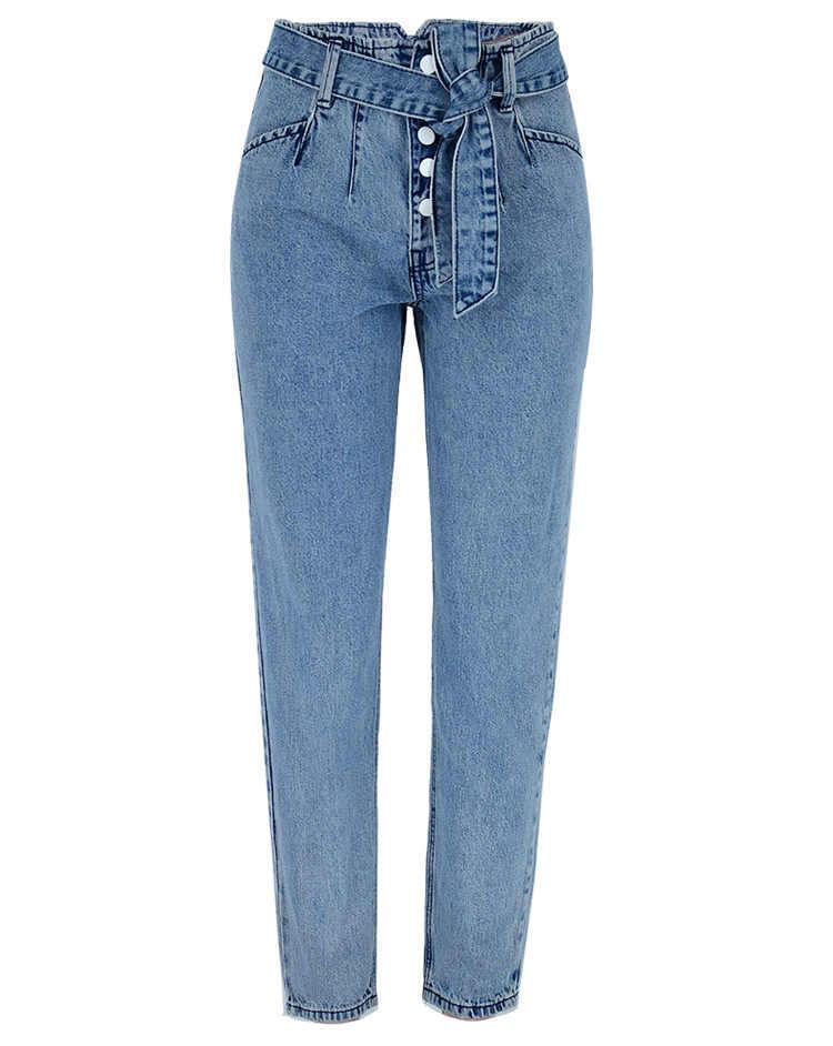 女性ハイウエストジーンズ Paperbag 付きジーンズパンツ女性
