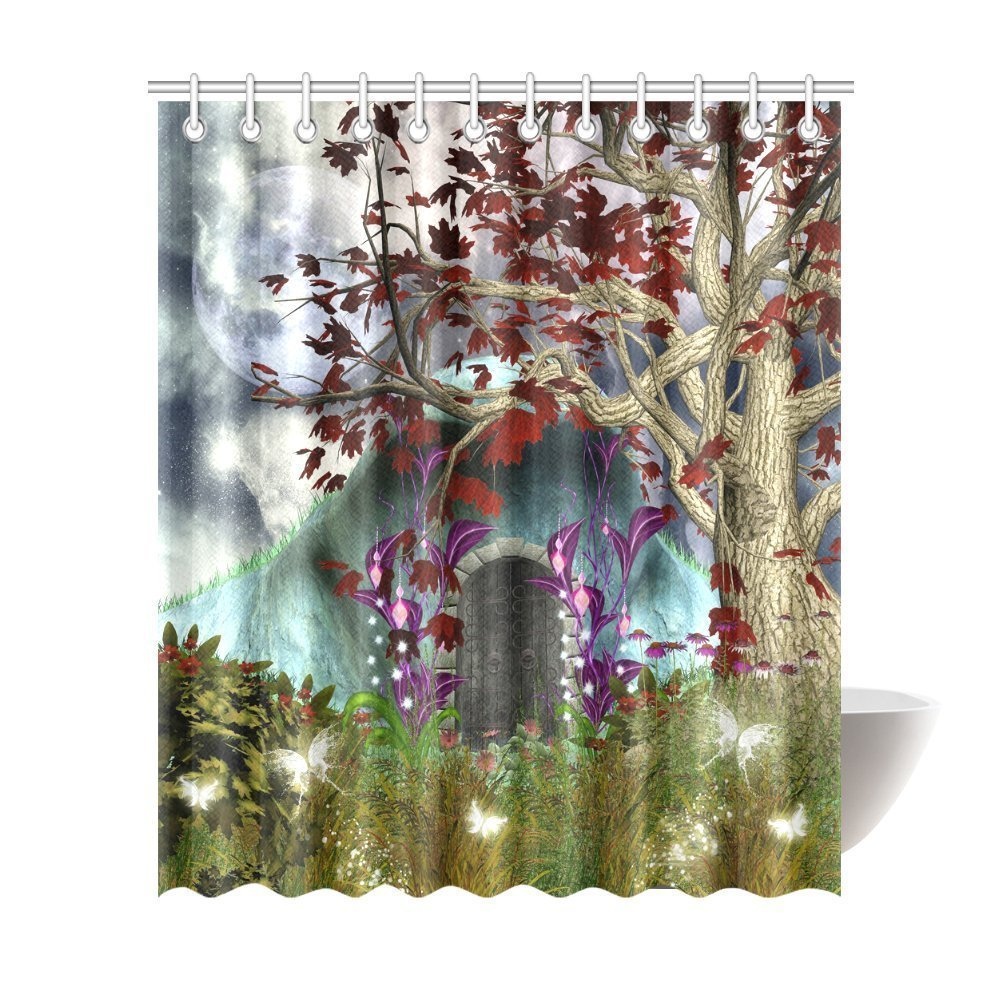 Mystical Magical Tree with Red Leaves Anime Moon Wooden Door in the Fairy Garden Fabric Shower Curtain
